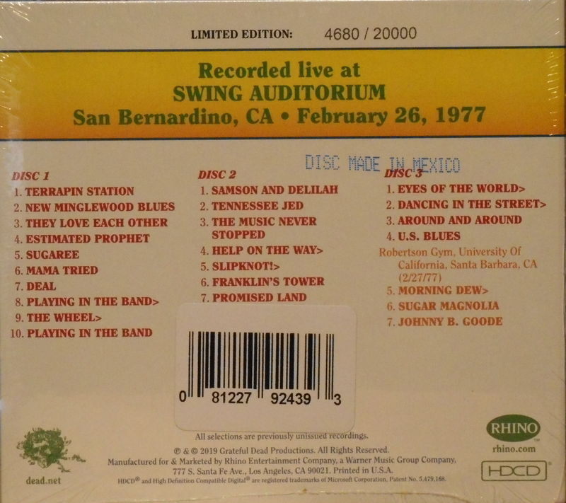 Grateful Dead - Dave's Picks Volume 29: Swing Auditorium